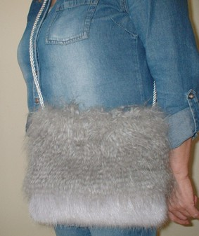 Mongolian Grey and Silver Mink Faux Fur Shoulder Bag