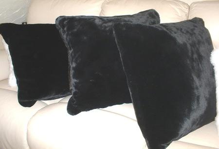 Black Moleskin Faux Fur Cushions