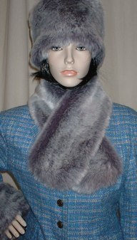 Silver Lavender Fox Faux Fur Neck Scarf