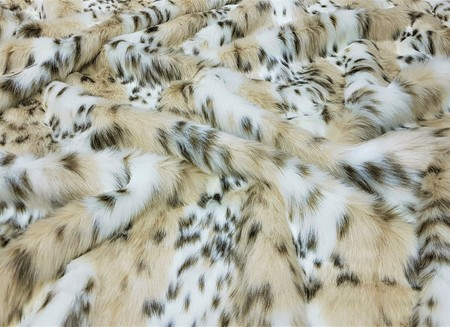 Beige Lynx Faux Fur Fabric