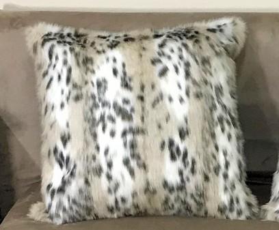 Beige Lynx Faux Fur Cushions
