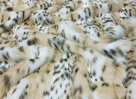 SECONDS Beige Lynx Faux Fur Fabric Per Meter