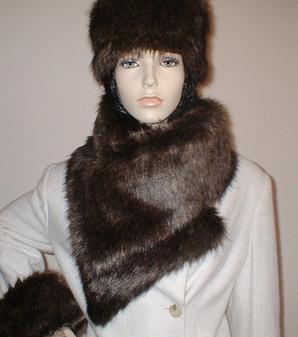 Brown Bear Faux Fur Vintage Asymmetric Scarf