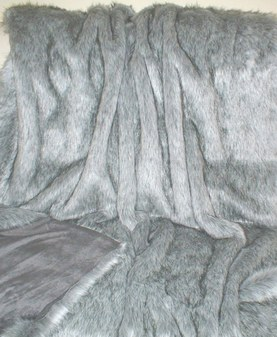 Silver Musquash Faux Fur Throw