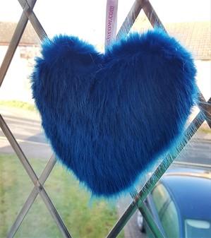 Azure Blue Faux Fur Hanging Heart