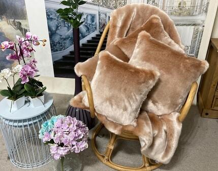 SALE Tissavel Blush Faux Fur Throws & Cushions