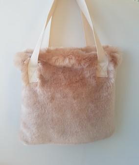 Tissavel Blush Faux Fur Tote Handbag