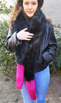 Black Bear and Hot Pink Mink Faux Fur Boa Scarves