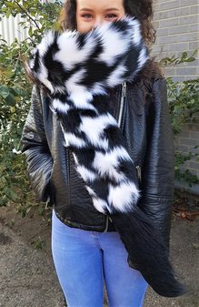 Tissavel Houndstooth and Long Black Bear Faux Fur Boa Scarf