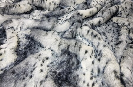 SALE Bob Cat Faux Fur Throw with Graphite Velboa