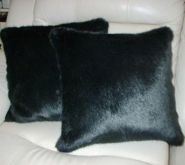 Charcoal Mink Faux Fur Cushion 41 x 41cm