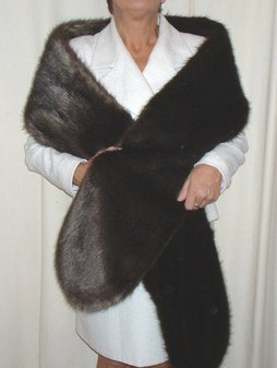 Mahogany Mink Faux Fur Slim Stole