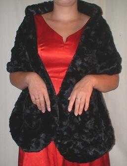 Black Astra Faux Fur Stole