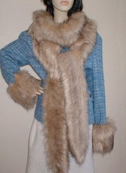 Fawn Musquash Faux Fur Super Long Scarf