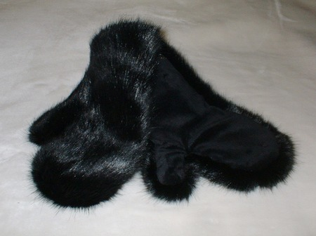 Black Mink Faux Fur Mittens