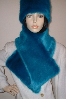 Azure Blue Faux Fur Asymmetric Scarf