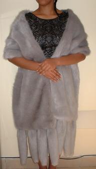 Silver Mink Faux Fur Tails Stole