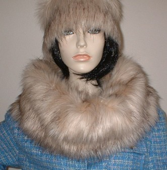 Fawn Musquash Faux Fur Cowl/ Neck Warmer