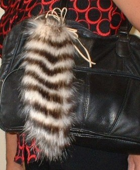 Sumatra Tiger Faux Fur Tail Handbag Key Charm