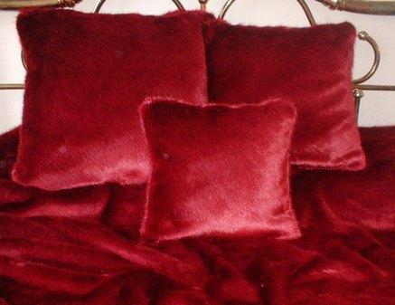 Ruby Red Faux Fur Cushion 41 x 41 cm 16 x 16 inch