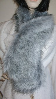 Silver Musquash Faux Fur Pull Through Scarf
