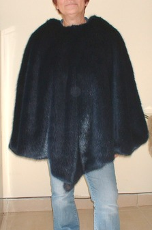 Midnight Navy Blue Faux Fur Poncho