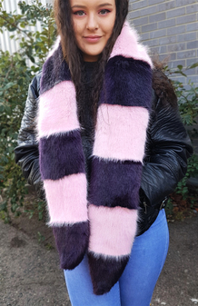 Raspberry Cream and Amethyst Mink Faux Fur Cheshire Scarf