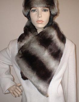Chinchilla Faux Fur Asymmetric Scarf