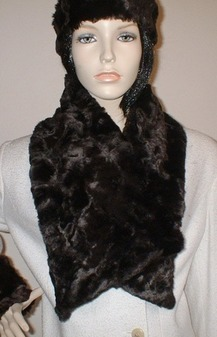 Chocolate Astra Faux Fur Asymmetric Scarf