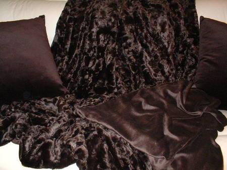 SALE Large Chocolate Astra Faux Fur and Chocolate Velboa Throw