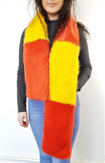 Coral and Yellow Mink Faux Fur Striped Scarf
