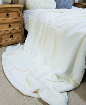 Cream Moleskin Faux Fur Throw