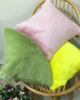 Raspberry Cream Faux Fur Cushions