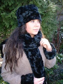 Black Astra Faux Fur Cuffs