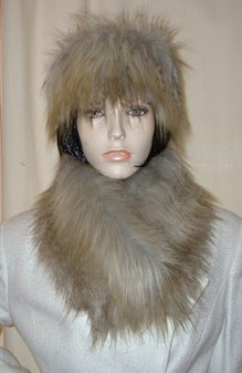 Coyote Faux Fur Long Collar