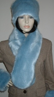 Powder Blue Faux Fur Pull Through Scarf