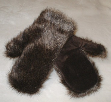 Brown Bear Faux Fur Mittens