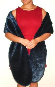 Midnight Navy Blue Faux Fur Slim Stole