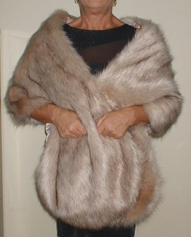 Fawn Musquash Faux Fur Long Stole