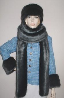 Charcoal Mink Faux Fur Super Long Scarf
