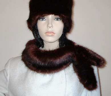 Burgundy Mink Faux Fur Slim Collar/Headband