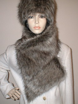 Timber Wolf Faux Fur Asymmetric Scarf