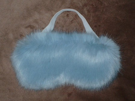 Powder Blue Faux Fur Eye Mask