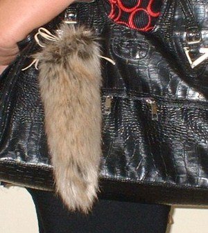Husky Faux Fur Tail Handbag Key Charm