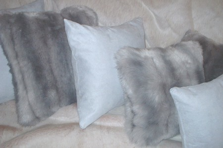 Silver Faux Suede Cushions