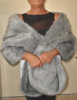 Silver Musquash Faux Fur Long Stole