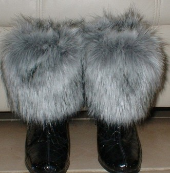 Silver Musquash Faux Fur Boot Toppers