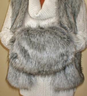 Silver Musquash Faux Fur Muff