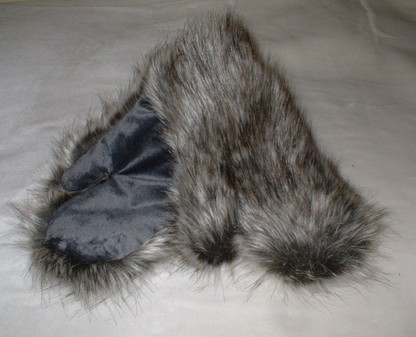 Timber Wolf Faux Fur Mittens
