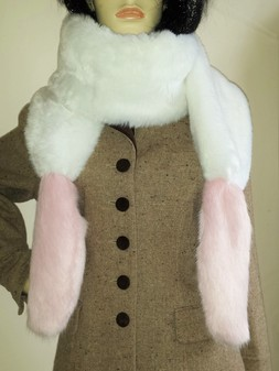 Raspberry Cream Mink and Snow White Faux Fur Boa Scarf